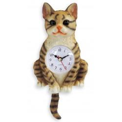 Horloge chat balancier 24cm