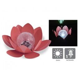 Décoration lumineuse solaire Lotus brique